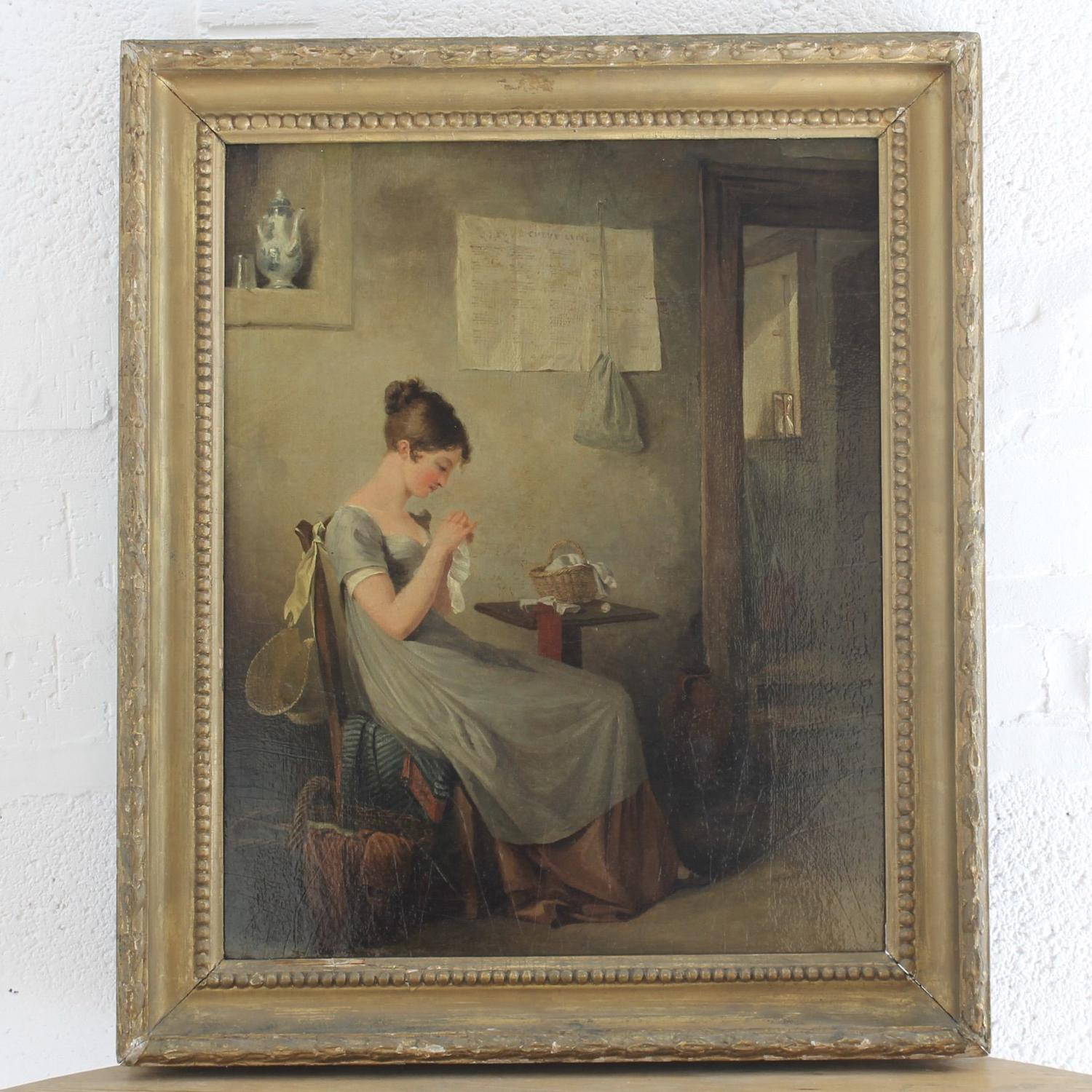 Regency Interior with Young Woman Sewing