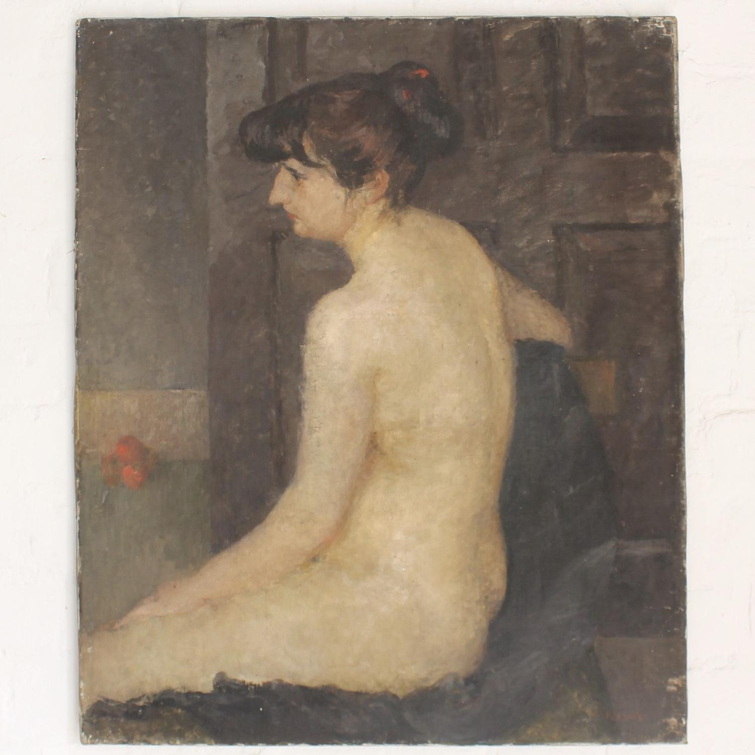 Female Nude on Dark Ground