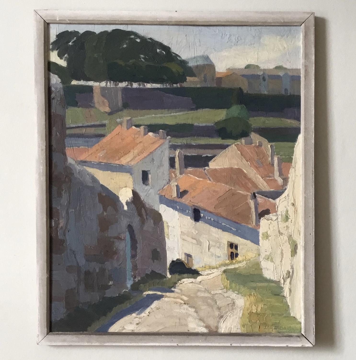 Stylised French Village Painting