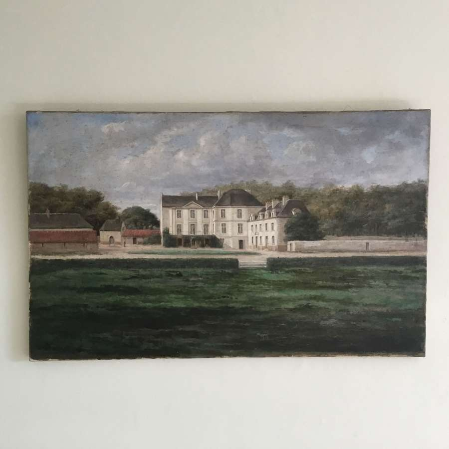 19th Century Naive Painting of a Chateau