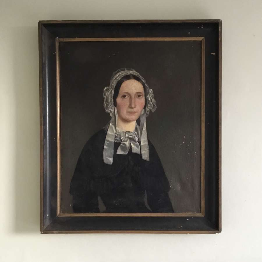 Naive, French school portrait in frame