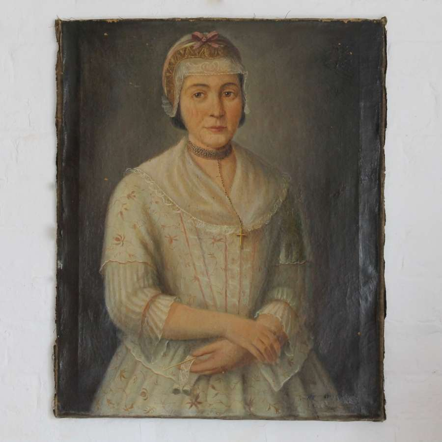 18th Century French Portrait of a Woman Making Lace