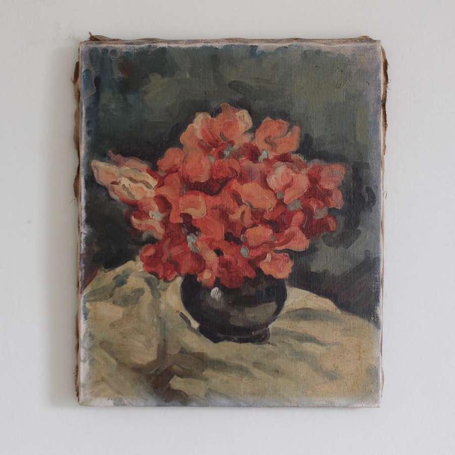 Floral Still Life in Green Vase