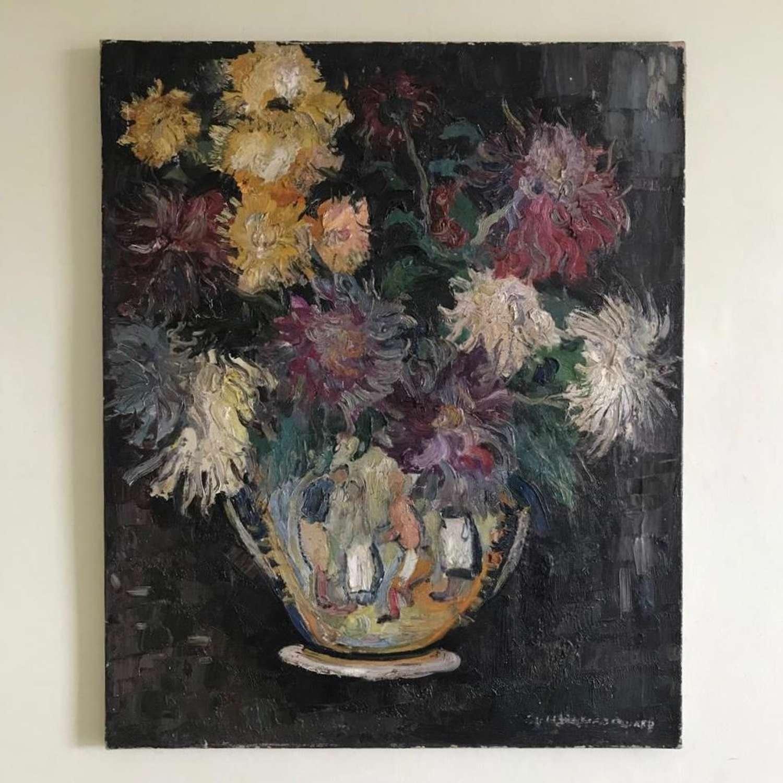 Chrysanthemums in Glazed Jug